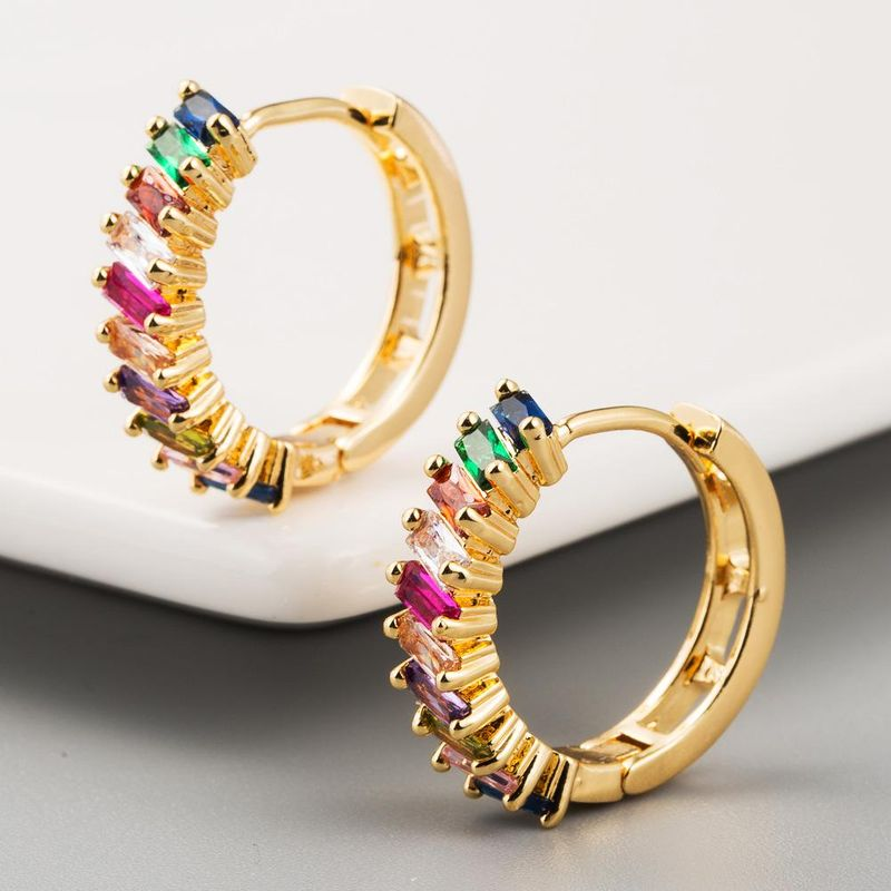 New fashion copper inlaid colored zircon 18K gold plated creative earrings for women NHLN203497