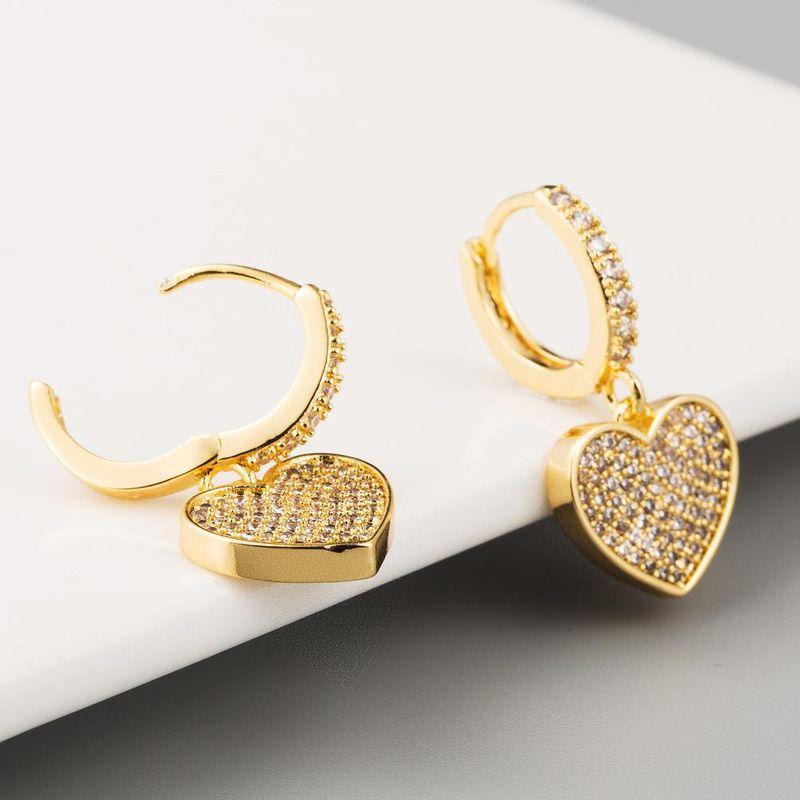 Copper inlaid white zircon earrings fashion love heart-shaped 18K real gold plated female earrings NHLN203502