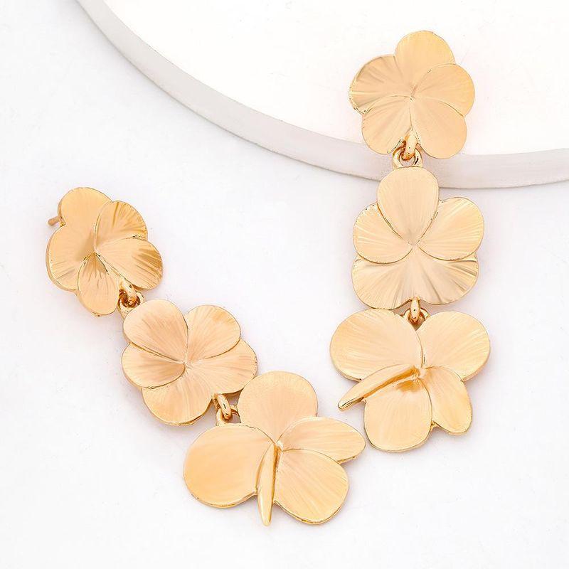 Metal multilayer alloy flower earrings female earrings new earrings NHJE203505