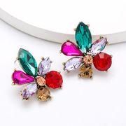 New fashion ultra flash alloy diamond glass flower earrings for women NHJE203506