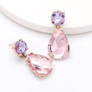 Nuevos pendientes de cristal de diamante de aleación en forma de gota para mujer al por mayor NHJE203507's discount tags