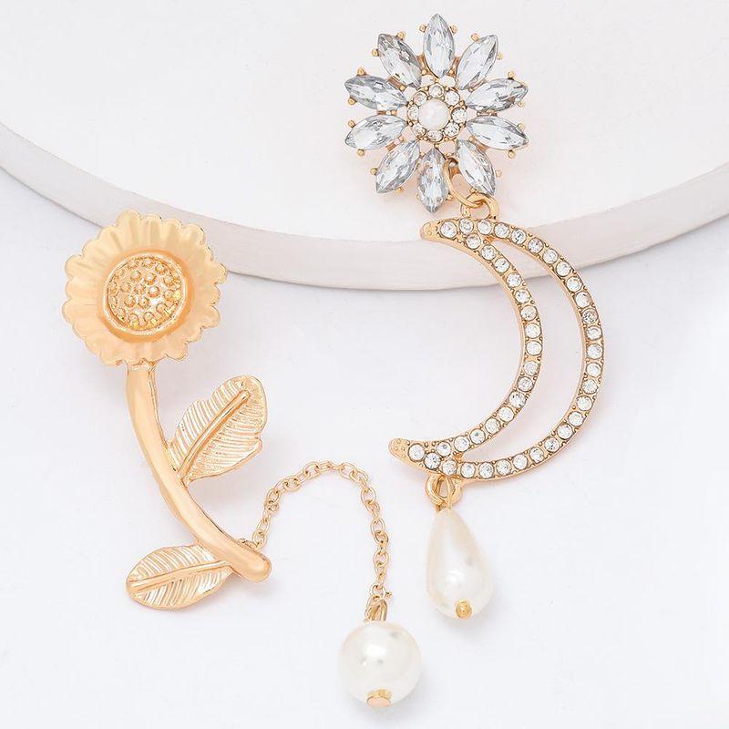 Alloy sunflower flower diamond moon pearl earrings asymmetric earrings female NHJE203508