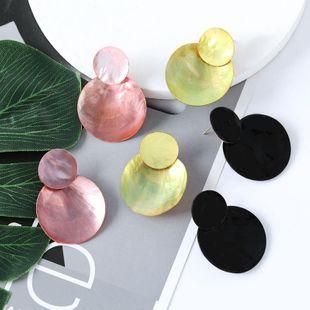 Pendientes retro femeninos de concha redonda multicapa de moda al por mayor NHJE203509's discount tags