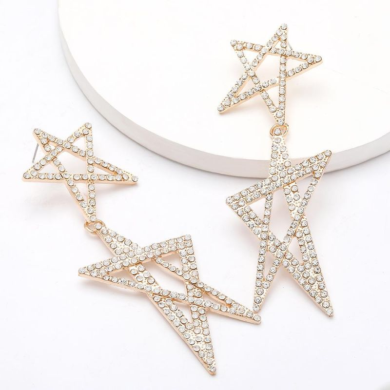 earrings fashion trend exaggerated alloy diamond rhinestone multilayer pentagram star earrings women NHJE203510