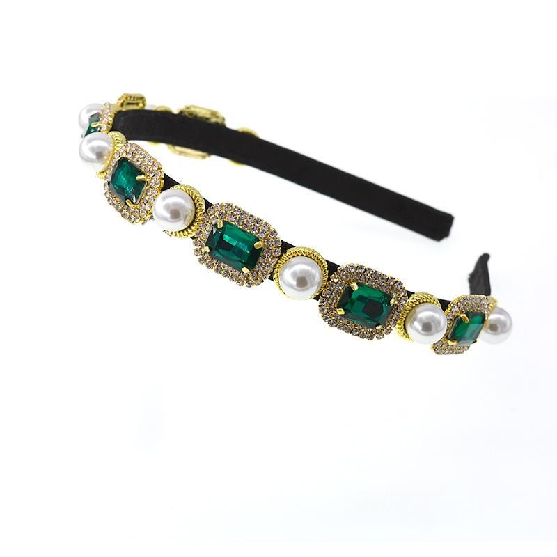 Korean rhinestone crystal colored sea story baroque gem colored diamond headband NHNT203516