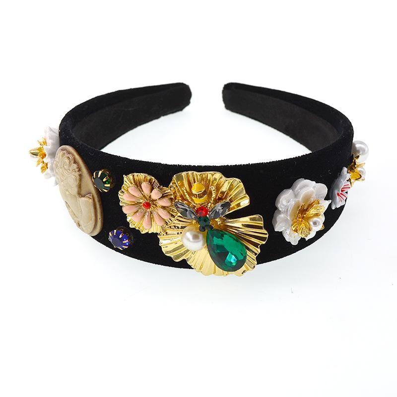 Retro Hair Band Green Diamond Gold Baroque Hair Accessories Non-Slip Hair Band NHNT203517