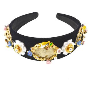 Vintage court baroque beauty head dinner party modeling gem wide headband headdress NHNT203519's discount tags