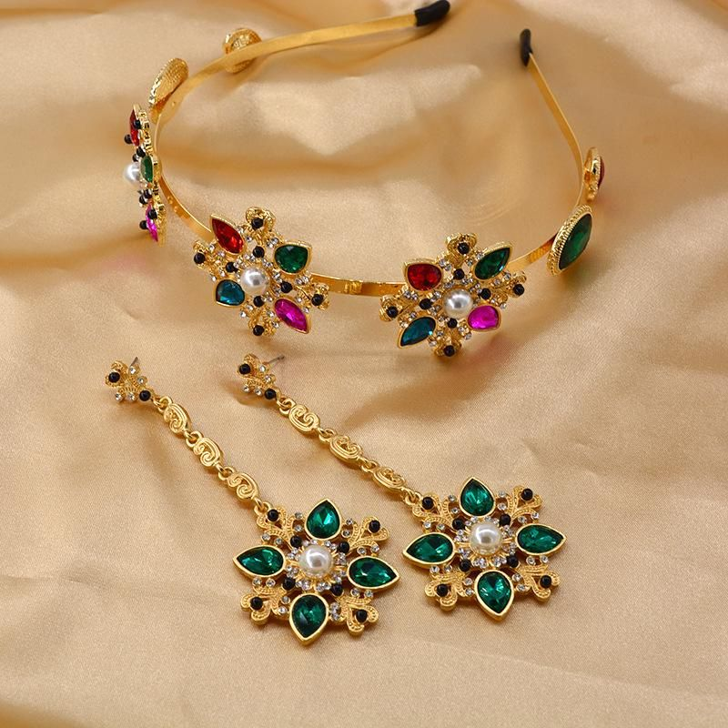Baroque vintage color crystal pearl rhinestone flower headband earrings NHNT203536