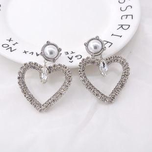 Pendientes de amor simples pendientes de corazón de melocotón perla de diamantes de imitación grandes coreanos femeninos pendientes exagerados NHNT203537's discount tags