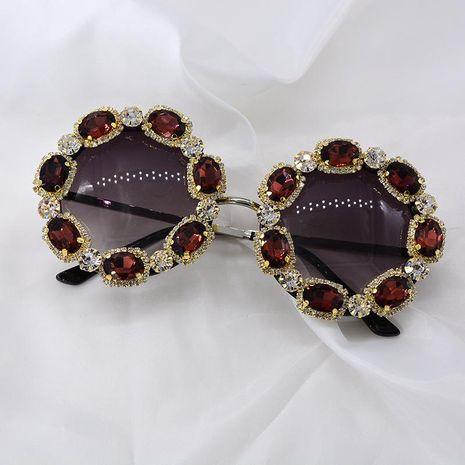 Lunettes de soleil femmes Lunettes de soleil anti-UV Coréen diamant couleur rouge couleur cristal lunettes de soleil NHNT203540's discount tags