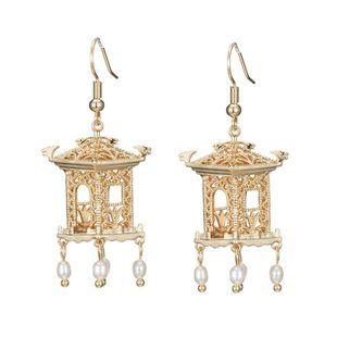 Pendientes de corte hueco pabellón de tinta pendientes de borla de perlas pendientes retro mujeres NHNT203545's discount tags