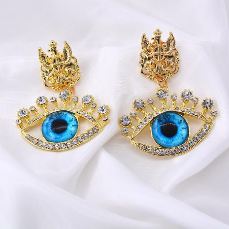 New retro diamond blue eyes sweet exaggerated fashion earrings wholesale NHNT203547's discount tags