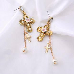 Pendientes cruzados dorados exagerados Pendientes barrocos largos vintage NHNT203548's discount tags