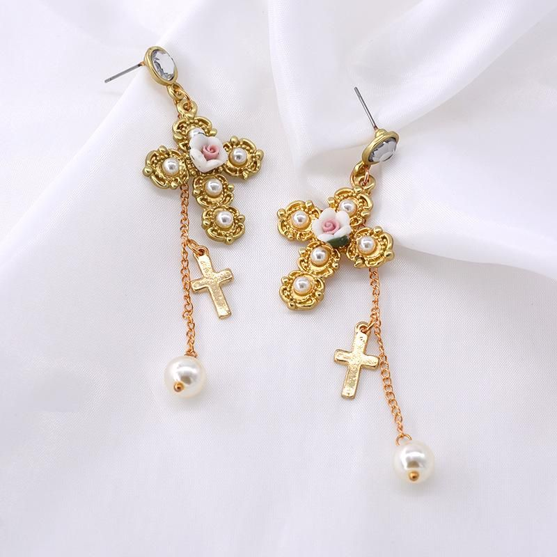 Exaggerated Golden Cross Earrings Vintage Long Baroque Earrings NHNT203548