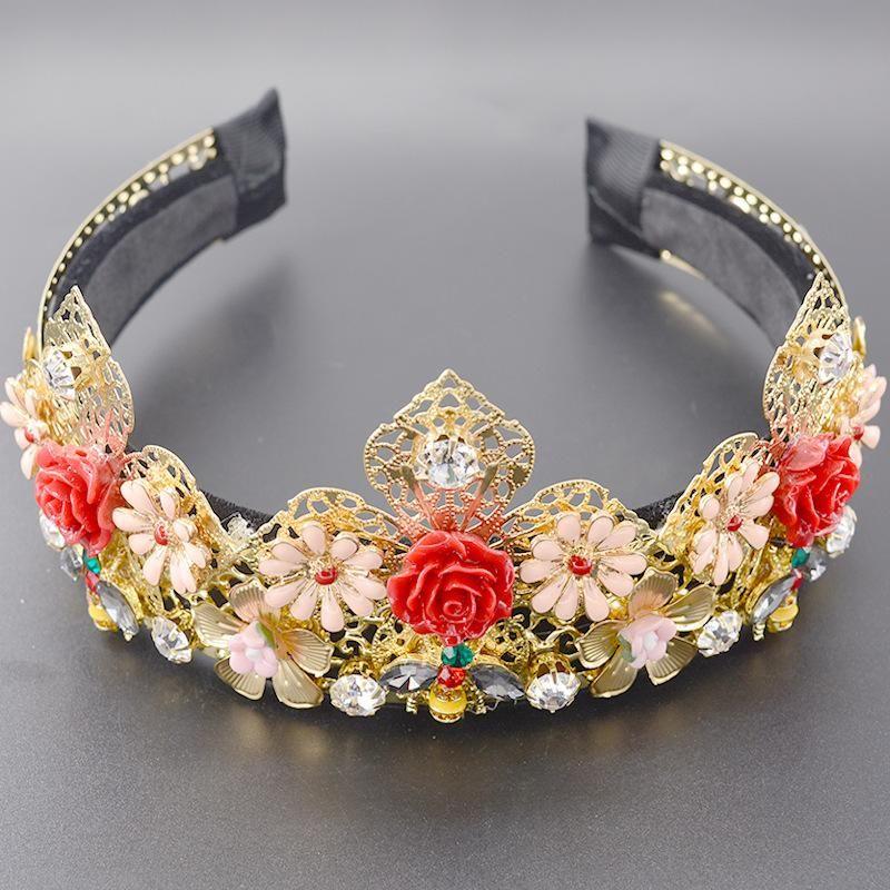 Baroque fashion porcelain flower bee iron flower metal hair hoop NHNT203553