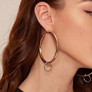Joyas simples pendientes de colores mixtos pendientes de anillo geométrico retro para mujer NHXR203564's discount tags