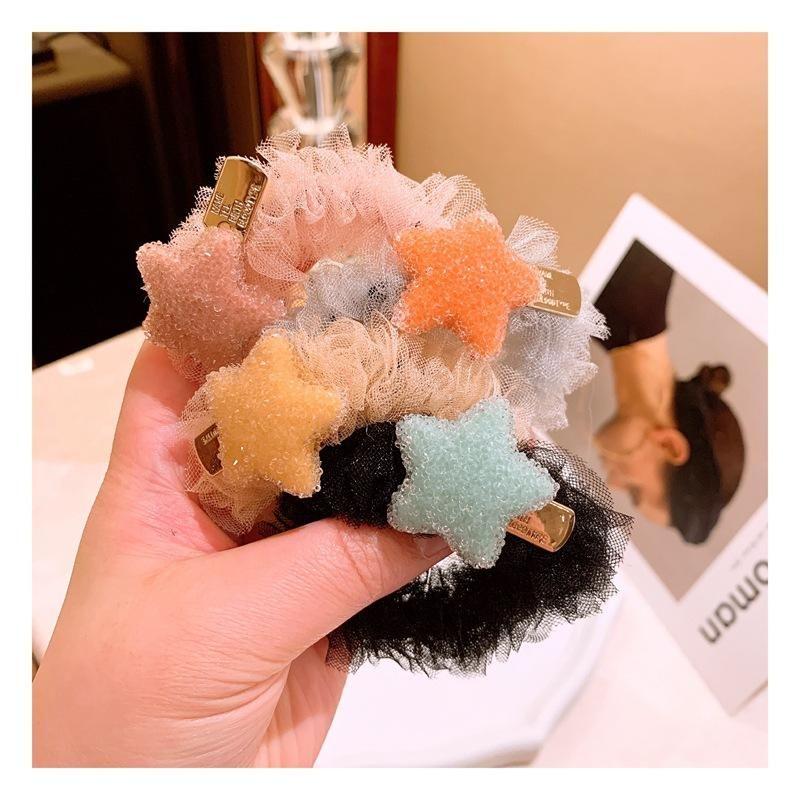 Han Chun Lace Sweet Crystal Star Hair Ball Meatball Headdress Cheap Rubber Band NHHD203592
