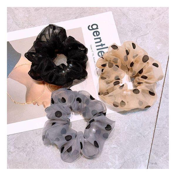 Korean wave dot retro French headband simple rubber band cheap hair rope wholesale NHHD203600