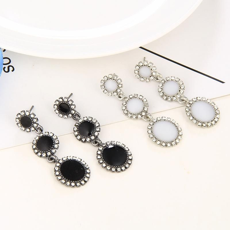 Trendy new simple diamond long earrings retro circle alloy earrings NHPF203607