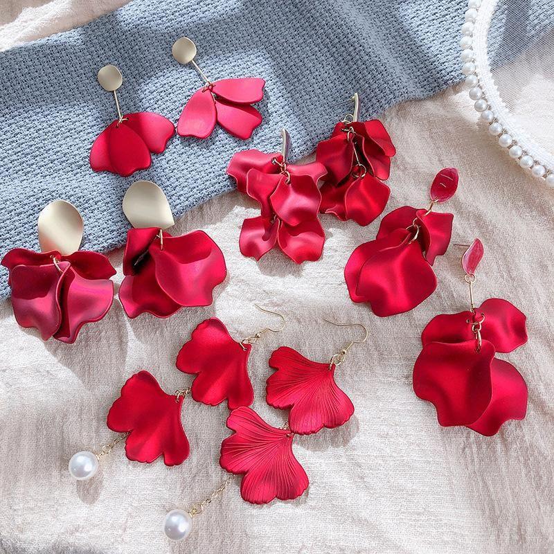 Korean Long Red Rose Petal Earrings Retro Exaggerated Pearl Tassel Earrings NHPF203609