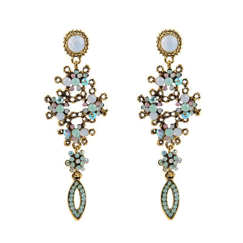 New fashion retro hollow hollow crystal earrings women NHPV203617