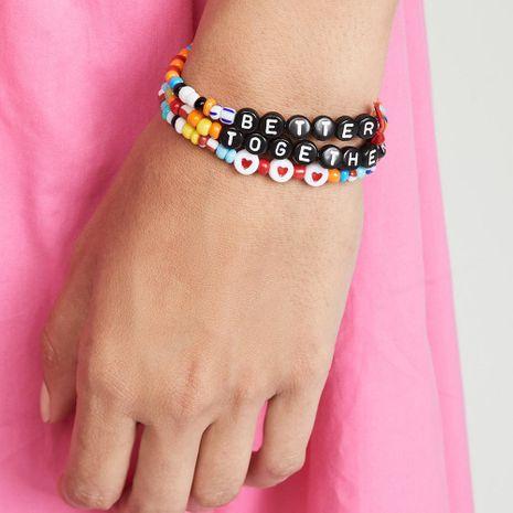 English love Mizhu summer beach inspirational friendship couple three-piece bracelet NHPV203622's discount tags
