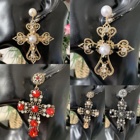 Croix diamant boucles d'oreilles en gros fournisseurs de yiwu Chine NHJJ203626's discount tags