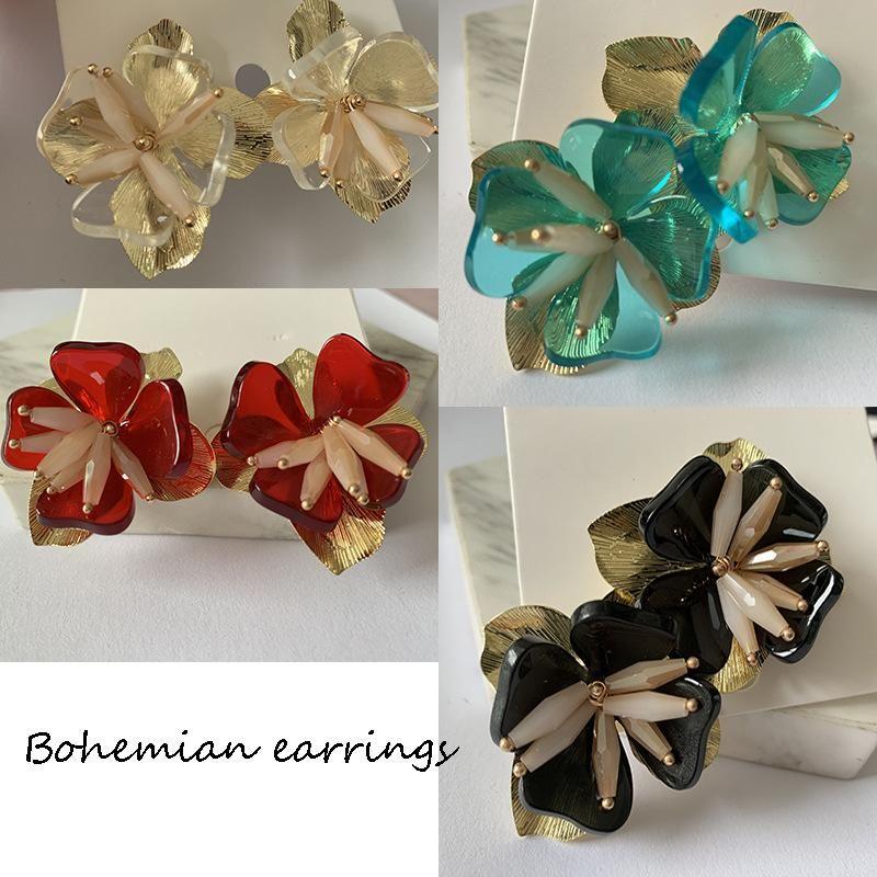 Fashion Floral Multilayer Earrings Bohemian Jewelry Diamond Stud Earrings  NHJJ203628