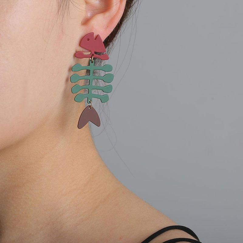 Fish bone hipster earrings for women simple titanium steel fashion long NHJJ203633