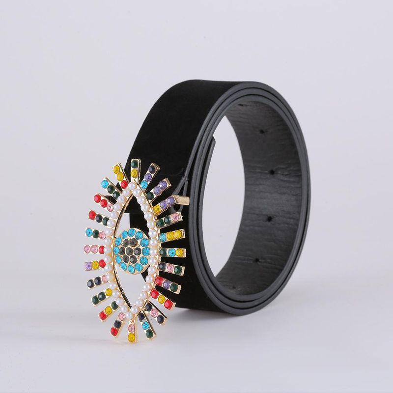 Korean fashion suede belt new eyes diamond belt women NHJJ203635