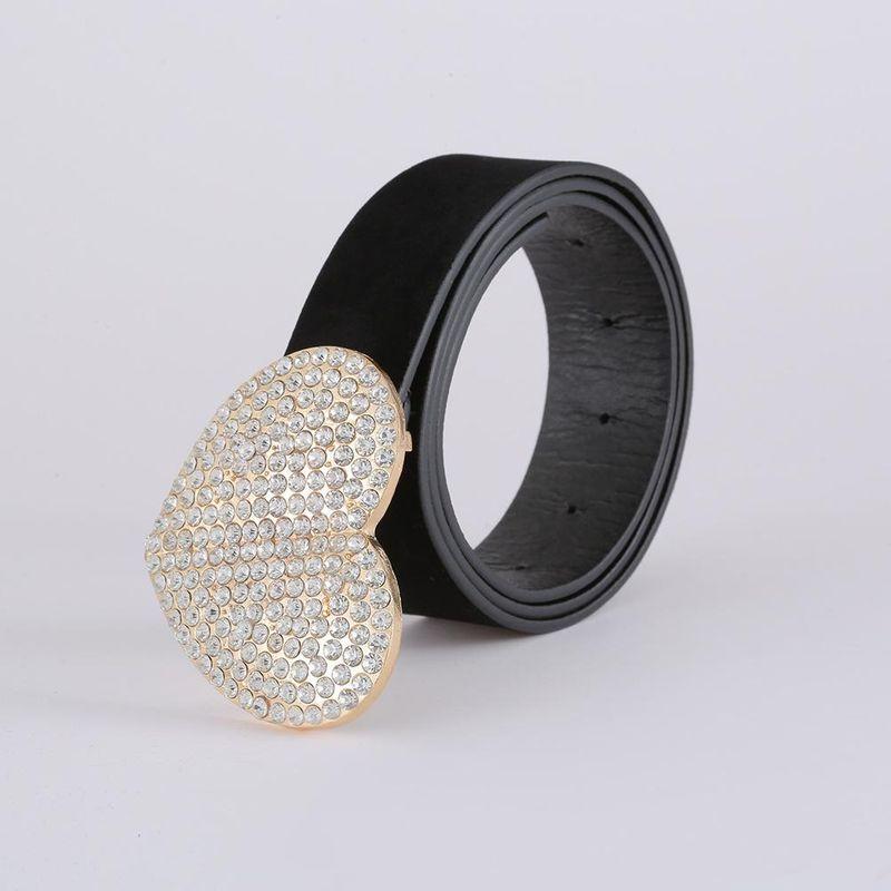 Korean fashion suede belt cross-border new heart-shaped diamond belt women NHJJ203638