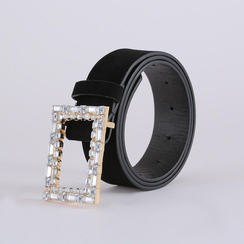 Korean fashion suede belt creative diamond belt women NHJJ203639