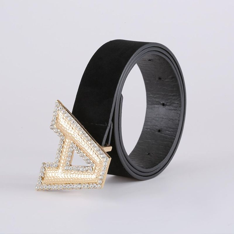 Korean fashion suede belt new creative letter A diamond belt women NHJJ203641