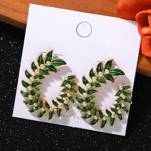 Pendientes de perlas botánicas de Bohemia Nuevos pendientes de fiesta de vacaciones de moda NHJQ203649's discount tags