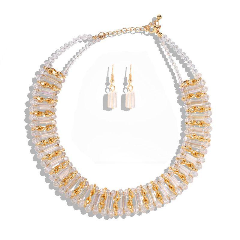 New Handmade Beaded Necklace Three-dimensional Geometry Wild Ear Jewelry Set NHJQ203653