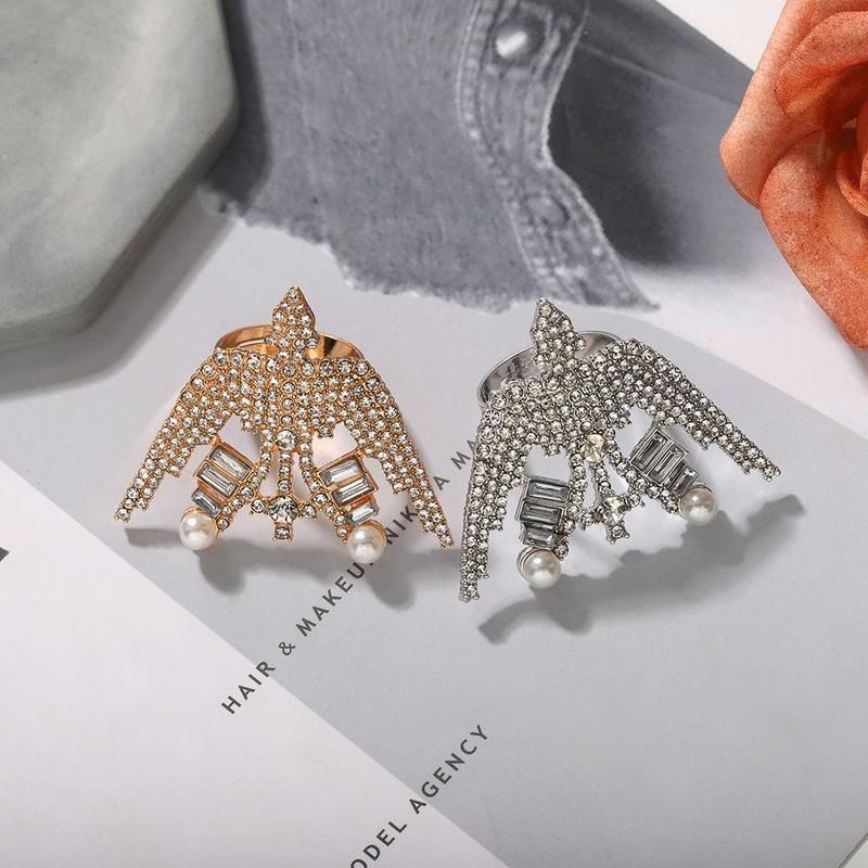 Women's new fashion party ring with diamond swallow alloy ring NHJQ203655