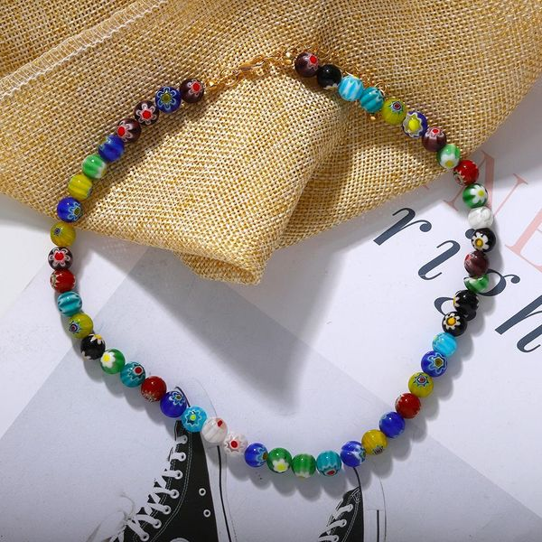 New fashion holiday style necklace printed handmade beaded jewelry NHJQ203656
