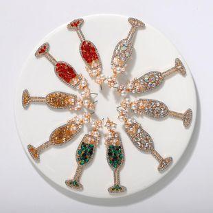 Nuevos pendientes de copa de vino pendientes de diamantes de moda al por mayor NHJQ203657's discount tags