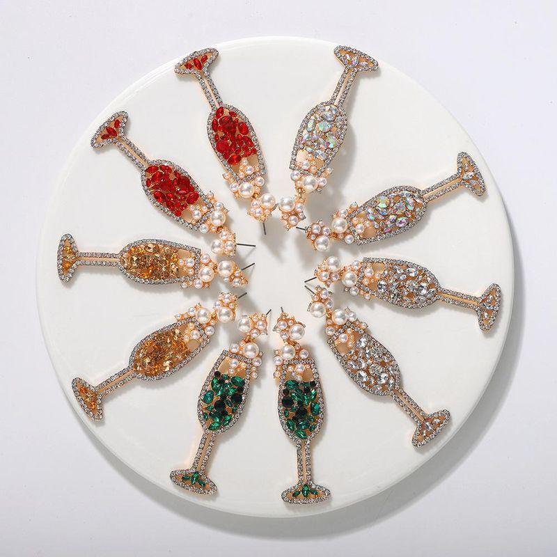 New wine glass earrings fashion diamond earrings wholesale NHJQ203657
