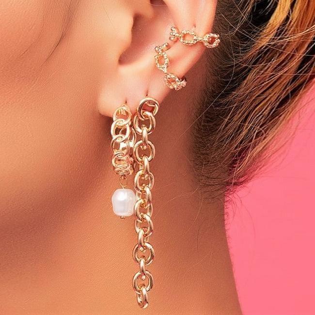 New fashion chain earrings set of 4 creative retro simple non-porous ear clips NHPJ203665
