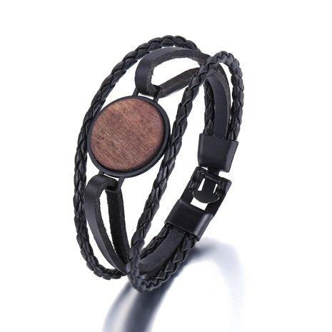 Bracelet en similicuir tissé rond en copeaux de bois Nouveau bracelet pour homme noir simple NHPJ203667's discount tags