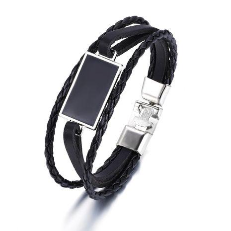 Nouveau bracelet en similicuir géométrique rétro simple bracelet pour homme noir NHPJ203668's discount tags