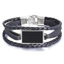 New Geometric Faux Leather Bracelet Retro Simple Black Mens Bracelet NHPJ203668