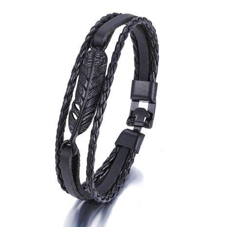 Woven Feather Faux Leather Bracelet Creative Simple Black Men's Leather Bracelet NHPJ203669's discount tags