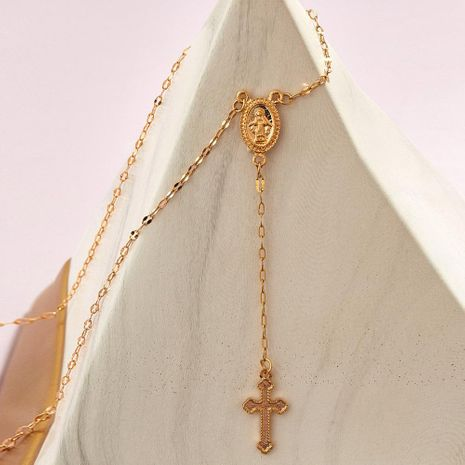 New Golden Cross Our Lady Necklace Creative Retro Simple Sweater Chain NHPJ203672's discount tags