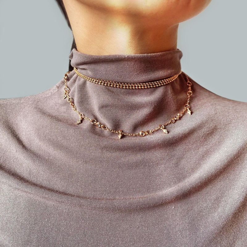 New simple retro three-layer necklace with diamond clavicle chain women NHPJ203677