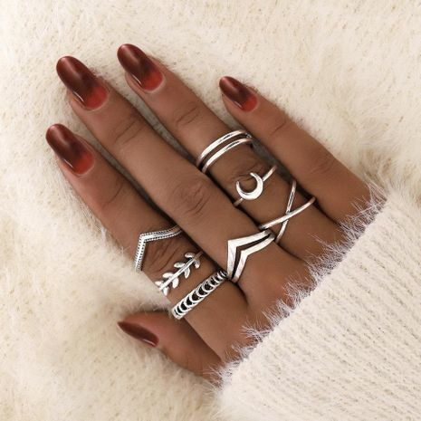 European and American Moon Leaf Cross Ring 7-Piece Retro Simple Jointed Ring Set NHPJ203678's discount tags