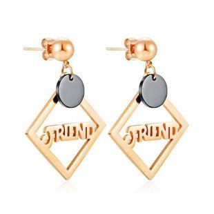 Simple Geometric Square Titanium Steel Jewelry Aretes de acero inoxidable chapado en oro rosa para mujer NHOP203686's discount tags