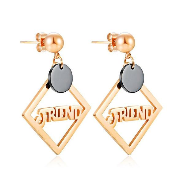 Simple Geometric Square Titanium Steel Jewelry Rose Gold Plated Women's Stainless Steel Stud Earrings NHOP203686
