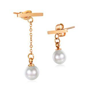 Joyas irregulares de acero de titanio Pendientes de perlas artificiales de acero inoxidable con perlas artificiales chapadas en oro rosa coreano NHOP203689's discount tags
